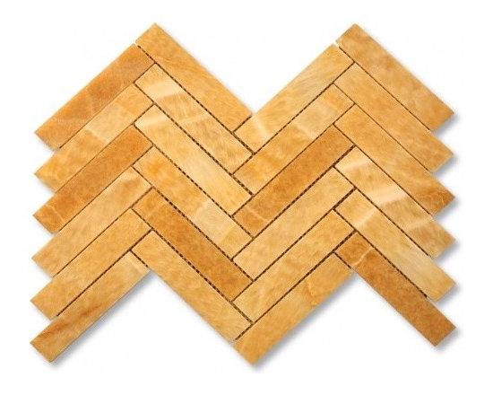Honey Onyx Large herringbone stone mosaic tile - Honey onyx large herringbone stone mosaic
