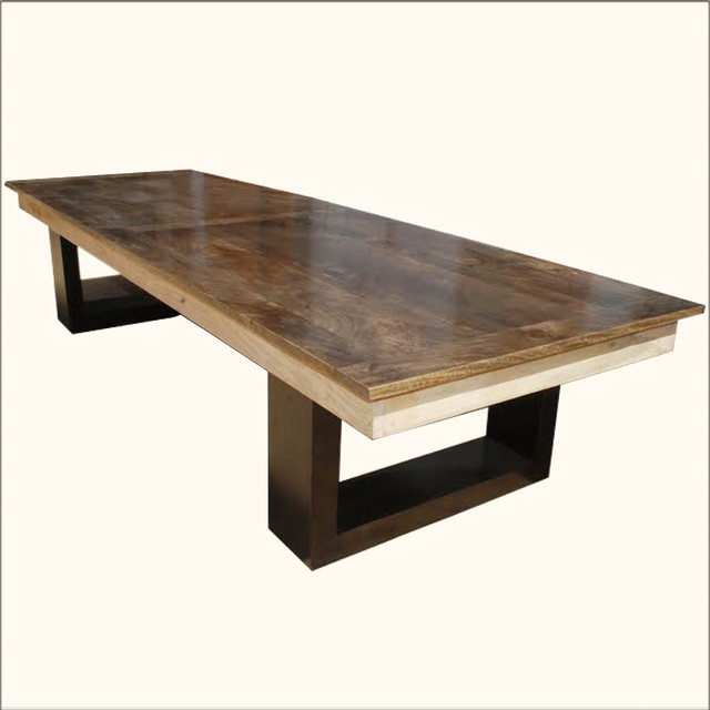 Mango Wood Double Pedestal Dining Table For 6 People Dining Tables
