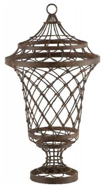 Pedestal Wire Urn traditional-indoor-pots-and-planters