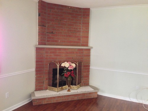 Living room ideas with corner fireplace and tv - Need Help On Updating A Brick Layered Corner Fireplace