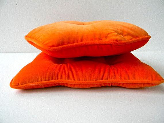 Modern Orange Pillows : Vintage Midcentury Modern Orange Velvet Pillow by Pillowhappy - Modern - Decorative Pillows - by ...