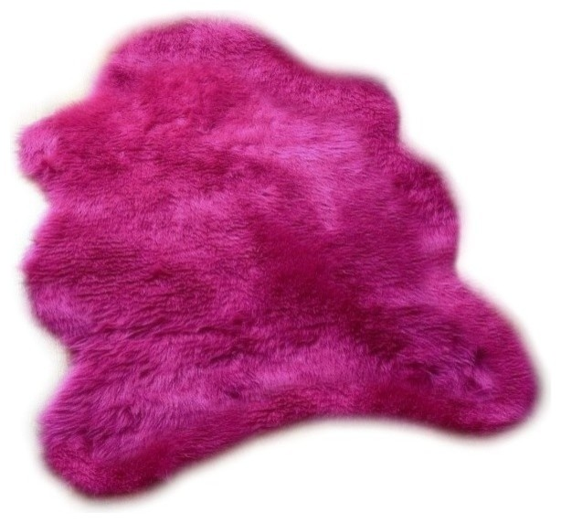 Shaggy Faux Fur Sheepskin Accent Rug, Hot Pink Shag, 5x8
