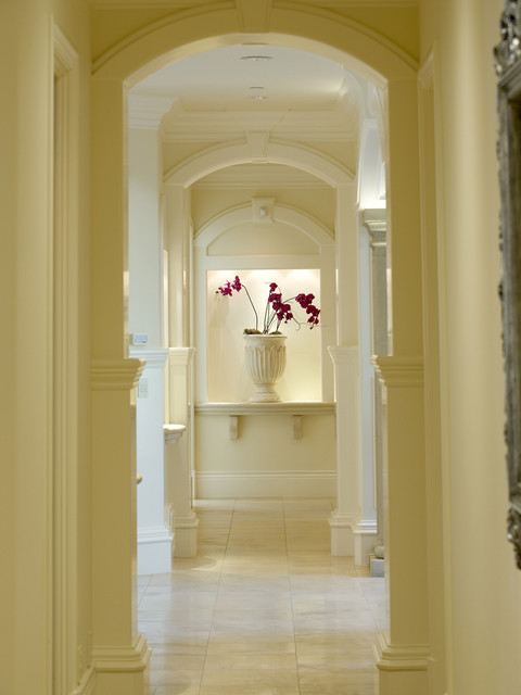 Art Niche and Hallway Detail Traditional Hall by