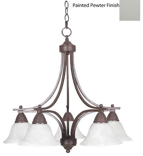 Metropolitan Five-Light Painted Pewter Chandelier with Faux Alabster Glass modern-chandeliers