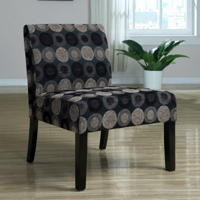 Monarch Circular Fabric Accent Chair - Black / Tan modern-living-room-chairs