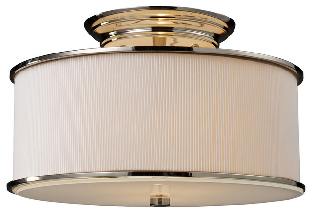 Lureau 2 light semi flush in polished nickel for Semi flush mount lighting modern