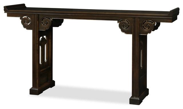 Vintage Elmwood Altar Style Console Table Asian