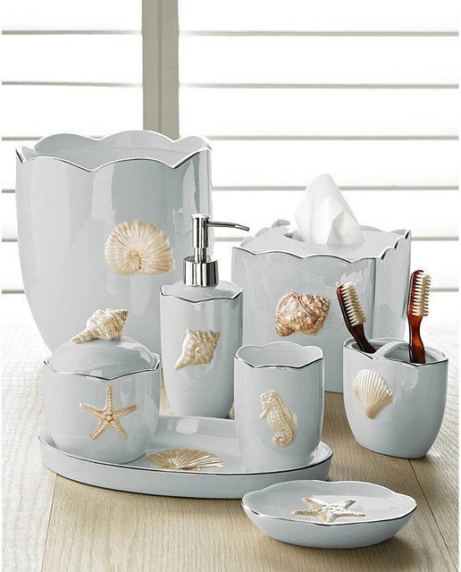 Marie shells seafoam bath accessories set coastal style for Bathroom accessories collection