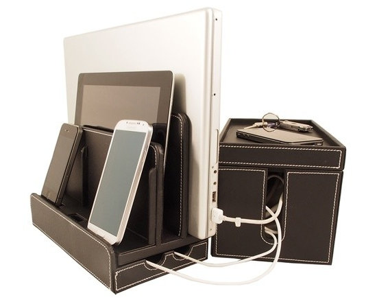 Great Useful Stuff - Black Leatherette Multi-Charger and Cord Cubby Combo - 2 great products that together solve your charging and cord organization problems!