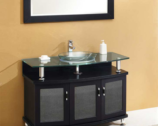 Fresca - Fresca Contento 43 Espresso Modern Bathroom Vanity w/ Mirror - Featuring a rich Espresso finish for a luxury look, the Contento 43 vanity from Fresca will make a stylish yet highly practical addition to any bathroom. Supplied with the matching mirror, this vanity has a high quality construction to ensure long lasting durability. Incorporating plenty of essential storage space for toiletries and bathroom linen, this vanity also includes the glass sink and countertop.  Contento Bathroom Vanity Details:   Dimensions: Vanity: 43 1/4W x 22 1/8D x 33 3/4H, Mirror: 43 3/8W x 23 5/8H Material: Solid Oak Wood, Tempered Glass Countertop/Sink Single hole faucet mount Finish: Espresso Includes mirrors Please note: faucets not included
