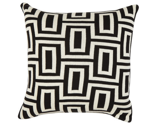 Ethan Allen - Black and Ivory Maze Pillow - Geometric design meets modern cool. Our bold maze pillow serves up a traditional pattern in a bold scale in graphic black and ivory.
