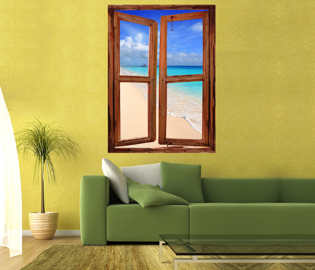 Caribbean tropical turquoise beach window scene wall mural for Wall scenes
