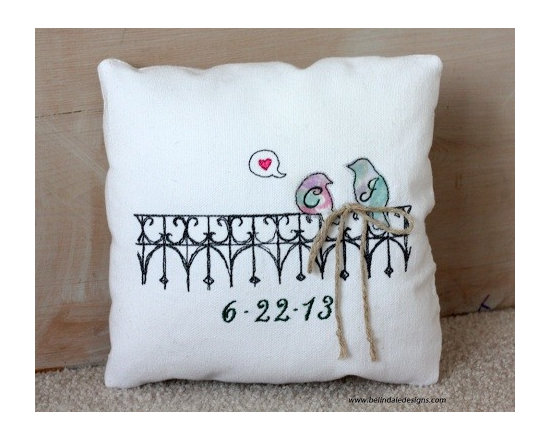 Lovebirds Ring Bearer Pillow Personalized With Bride and Groom Initials & Weddin - Belinda Briggs