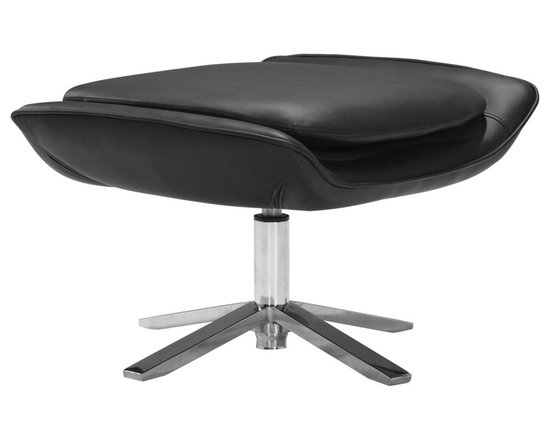 """Zuo - Zuo Vital Leatherette Black Ottoman - The Vital Collection has a casually chic vibe that can be dressed up or down to suit your own decor style. This black ottoman has a comfortable plush foam cushion wrapped in sophisticated easy to clean leatherette. The stylish base is constructed from solid stainless steel and provides a smart contrast with the cushion above. Design by Zuo Modern. Black leatherette wrapped body. Plush foam cushion. Solid stainless steel base. 25"""" wide. 19"""" deep. 14 1/2"""" high. Base is 15 1/2"""" wide.  Black leatherette wrapped body.   Plush foam cushion.   Solid stainless steel base.   25"""" wide.   19"""" deep.   14 1/2"""" high.   Base is 15 1/2"""" wide."""