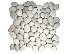 White Pebble Tile rustic-tile