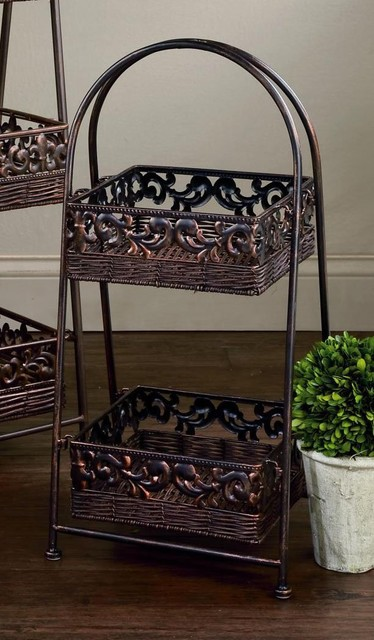 "2-Tier Square 26""H Rattan Basket Display Stand, Home Decor contemporary-decorative-boxes"