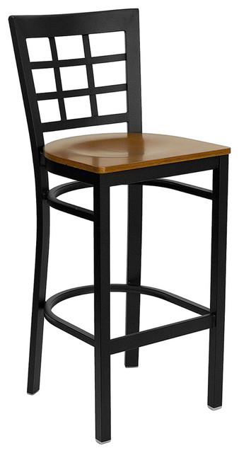 Flash Furniture Hercules Series Black Window Back Metal Restaurant Barstool traditional-bar-stools-and-counter-stools