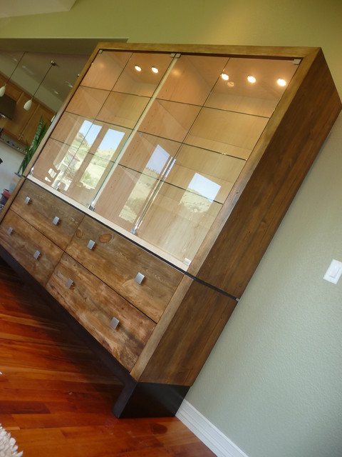 Custom Curio Cabinet Featured In Colorado Beetle Kill Blue Stained Pine Eclectic