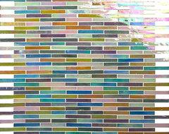 Uniform Brick Multi Color Mini Brick Victorian Glossy and Iridescent Glass contemporary-tile