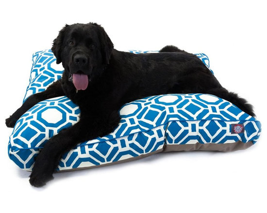 Majestic Pet Products - Santorini Aegean Mosaic Large Rectangle Pet Bed - Show how much you care by giving your pet a bed that might be more comfortable than your own. The Majestic Pet Patterned Pet Bed is the perfect combination of style, function and comfort. It features a removable zippered slipcover that is woven from durable Outdoor Treated 10oz polyester, with 2500 hours of UV protection. The base of the bed is made of heavy duty waterproof 300/600 Denier fabric, which allows you to move your pet wherever you are, inside or out. Each bed is filled with a super plush fiberfill that provides ample amounts of comfort. To wash: Spot clean the slipcover with a mild detergent and hang dry.