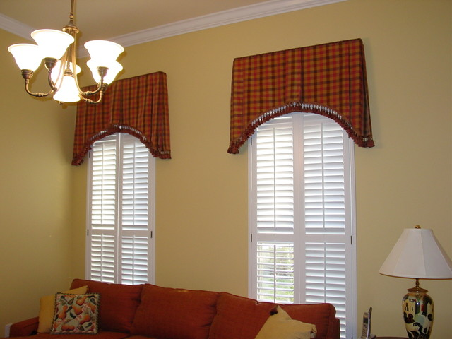 Box pleated Tapered Valances With Plantation Shutters