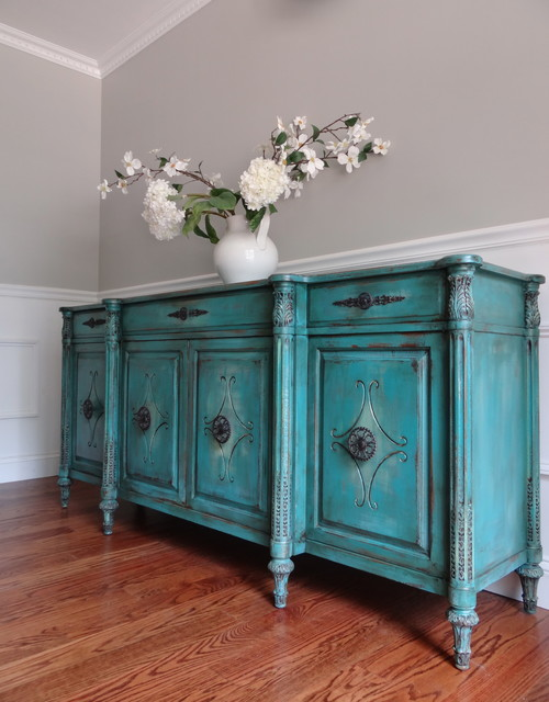 Vintage Hand Painted French Country Vintage Turquoise