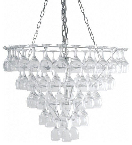 Vino Wine Glass Chandelier Large eclectic chandeliers