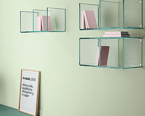 Digit Glass Wall Shelf - Digit is an extra clear or transparent glass unit forming numbers that appear just like digital number displays. You can combine several standard size Digit elements to create different units, such as coffee tables, side tables, and shelves. The glass pieces are precision cut and bonded together.