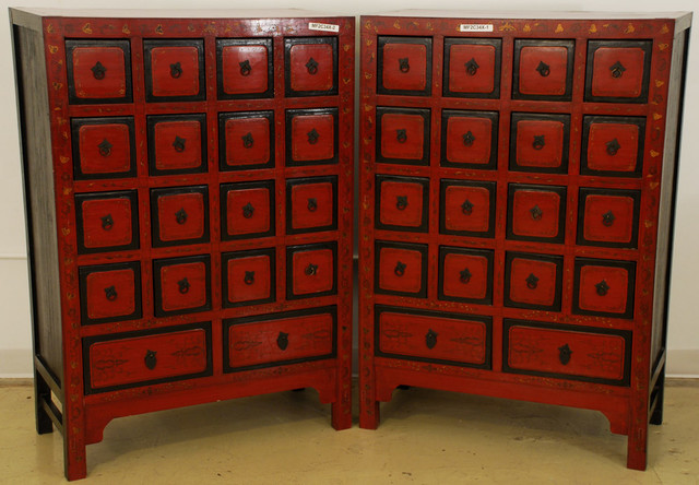 Red Lacquered Apothecary Cabinet - Asian - new orleans - by Silk Road Collection