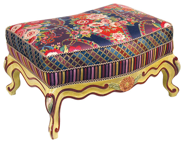 Aria Ottoman | MacKenzie-Childs eclectic-footstools-and-ottomans