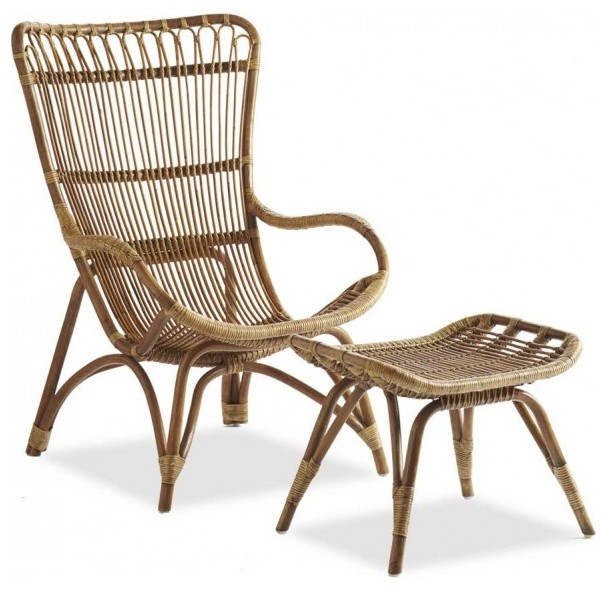 Settle In Rattan Lounger and Ottoman Tropical Outdoor