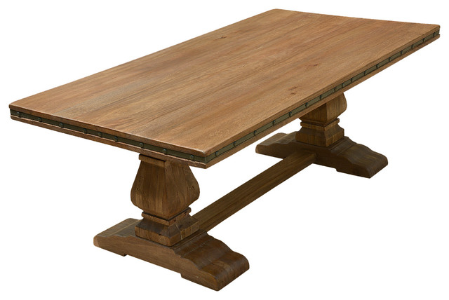 rustic solid wood trestle pedestal base harvest dining