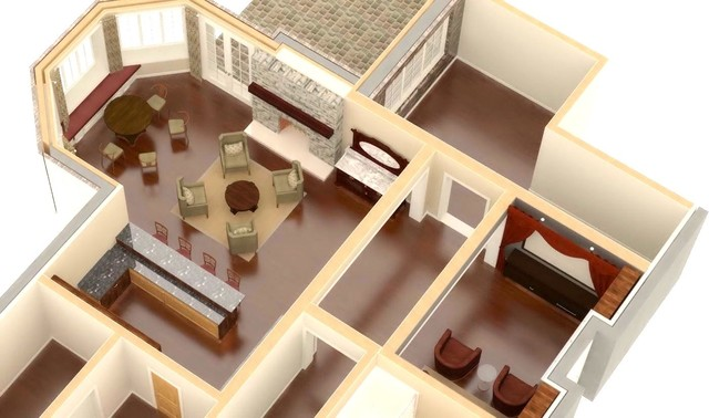 Basements traditional-rendering
