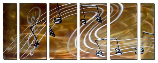 Melodic Swirl Music Note Art Set of 6 contemporary-artwork