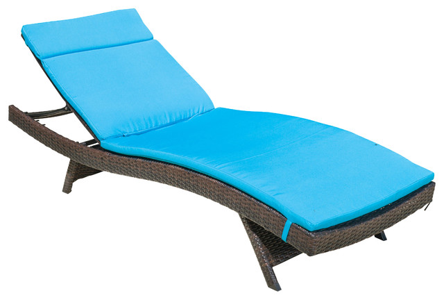 Lakeport Outdoor Adjustable Chaise Lounge Chair W Colored Cushion Blue Co