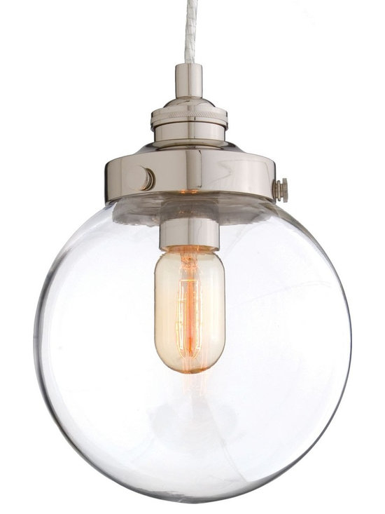 Arteriors Reeves Small Pendant - Blown clear glass orb pendant topped with polished nickel hardware.