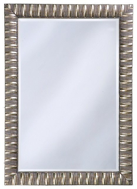 """Contemporary Antique Mottled Silver Finish 41"""" High Wall Mirror contemporary-mirrors"""