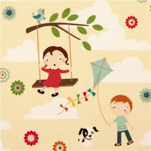 cream Riley Blake children fabric swing kite fabric