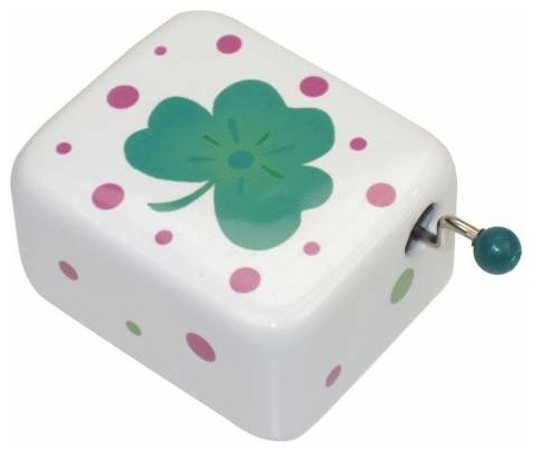 """1.5"""" Pink and Green Spots Pattern Musical Hand Crank with Shamrock eclectic-kids-decor"""