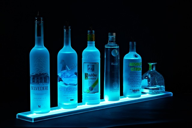 Liquor Shelf Display LED Lighted Bottle Display - eclectic - bar