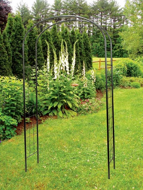 Simple Metal Arbor With Ivy Trellis Contemporary