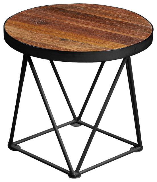 Drum Style Recycled Teak Wood Side Table modern-side-tables-and-end-tables