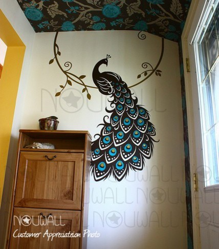 peacock three color wall decal nouwall contemporary wall stickers slender peacock design by walltola online