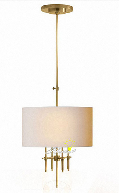 Modern 4 Lights Fabric and Copper Pendant Lighting