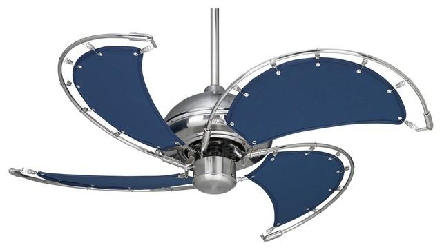 "Contemporary 40"" Casa Vieja Aerial Brushed Nickel Blue Blades Ceiling Fan contemporary-ceiling-fans"