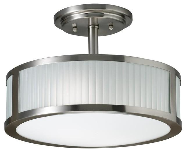 Transitional 2-light Brushed Nickel Semi Flush Mount contemporary-bathroom-vanity-lighting