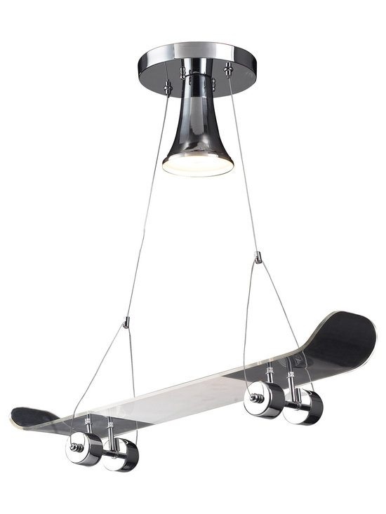 Belle & June Lighting - Learn a few new decorating tricks with the Skateboard Pendant Light, a unique and whimsical light for the kid who's riding around on four wheels. This skateboard-inspired novelty pendant light adds a whimsical look to any child's bedroom or playroom. Includes 3 feet of cable.
