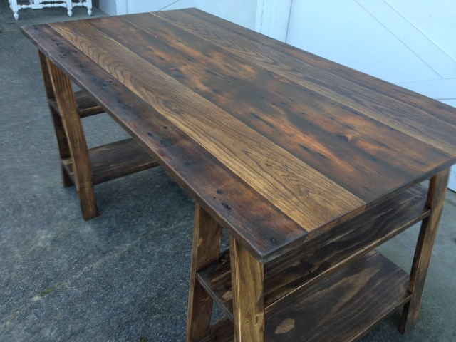 Barn Wood Sawhorse Desk - Rustic - Tools And Equipment - seattle - by Timber & Ore