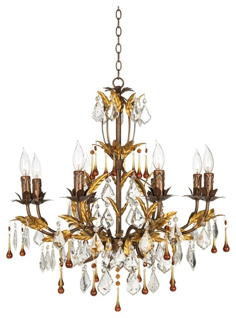 "Traditional Kathy Ireland Venezia Gold 8 Light 26"" Wide"
