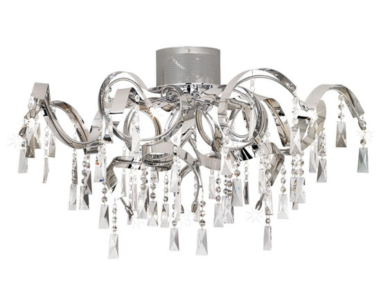 """Possini Euro Design - Possini Euro Chrome Curl Ribbon 34 1/4"""" Wide Ceiling Light - Make your room sparkle and shine with this brilliant semi-flushmount ceiling light. The contemporary design features chrome finish curls decorated with crystal drops and beading. The fixture is brought to life by a dozen halogen bulbs. A great look for bedrooms and entryways. From the Possini Euro Design Lighting Collection. Chrome finish. Crystal drops and beads. Includes twelve 20 watt G4 halogen bulbs. 34 1/4"""" wide. 16 1/4"""" high.  Chrome finish.   Crystal drops and beads.   Includes twelve 20 watt G4 halogen bulbs.   34 1/4"""" wide.   16 1/4"""" high.   Takes a Low Voltage dimmer."""